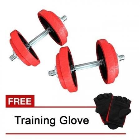 BodyX Rubber Dumbell Set 40kg Free Training Glove